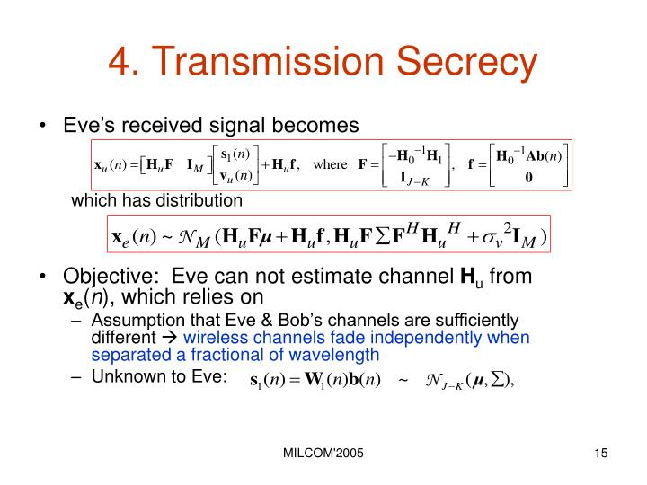 4. Transmission Secrecy