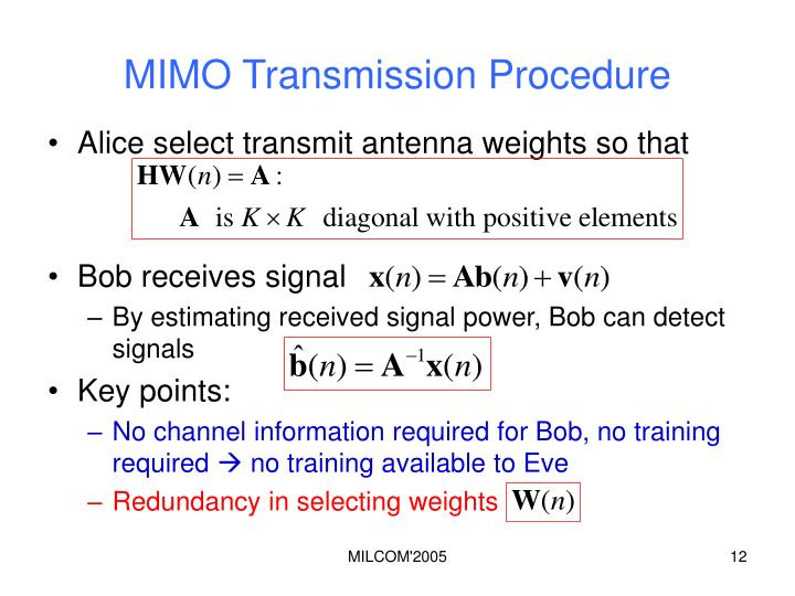 MIMO Transmission Procedure