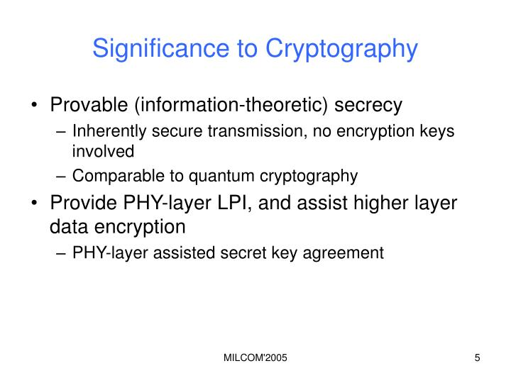 Significance to Cryptography