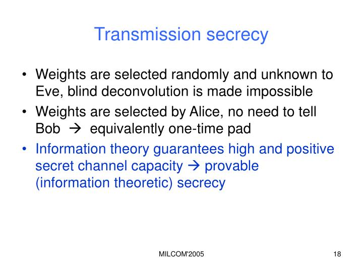 Transmission secrecy