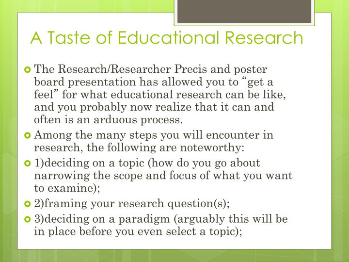 A Taste of Educational Research