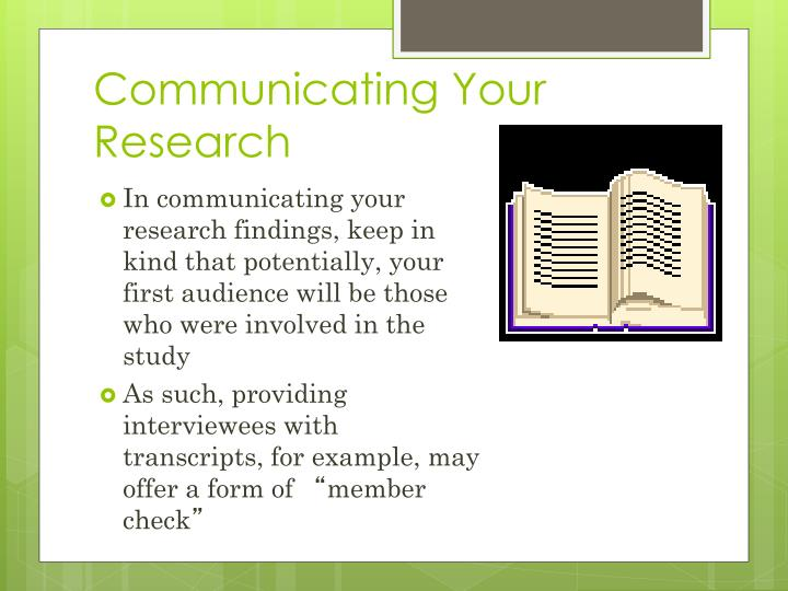 Communicating Your Research