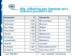 alg uitkering per inwoner 2013 nederland gemiddeld 906