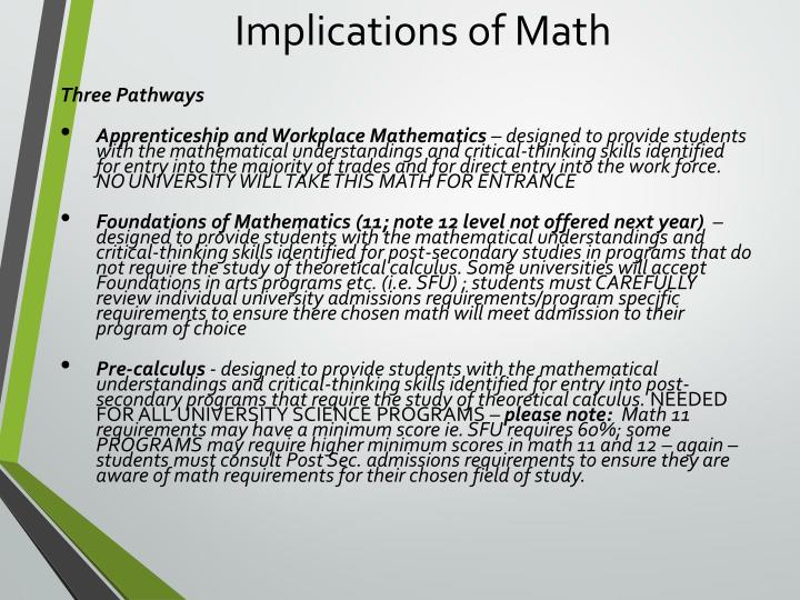 Implications of Math