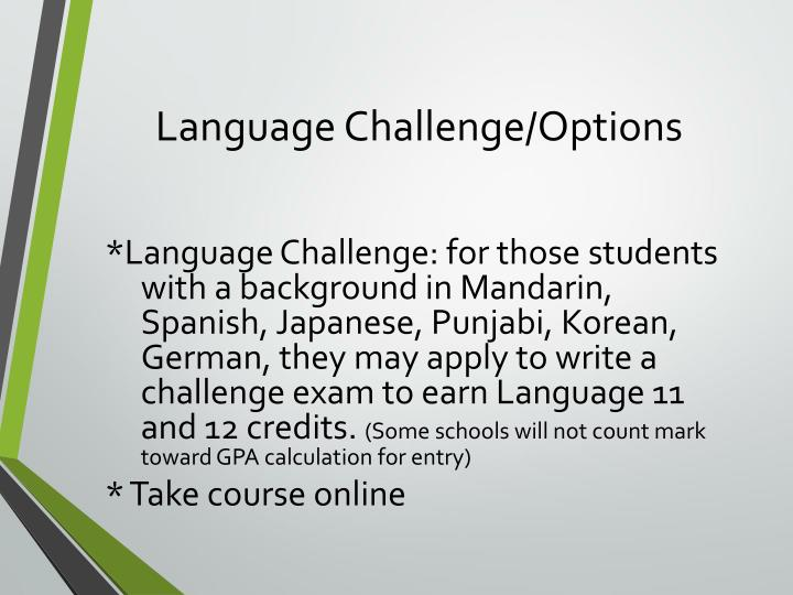 Language Challenge/Options