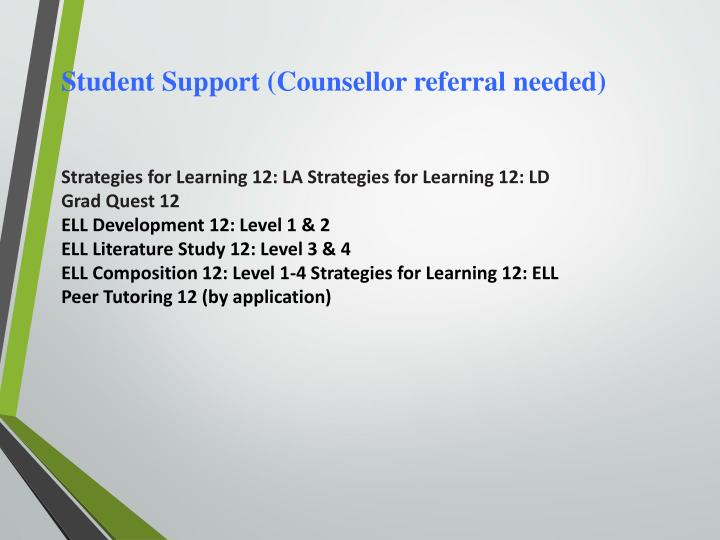 Student Support (Counsellor referral needed)