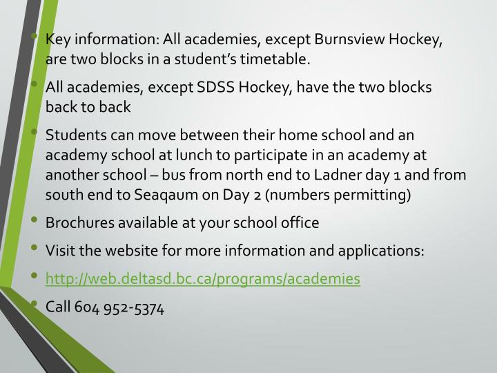 Key information: All academies, except Burnsview Hockey, are two blocks in a student's timetable.