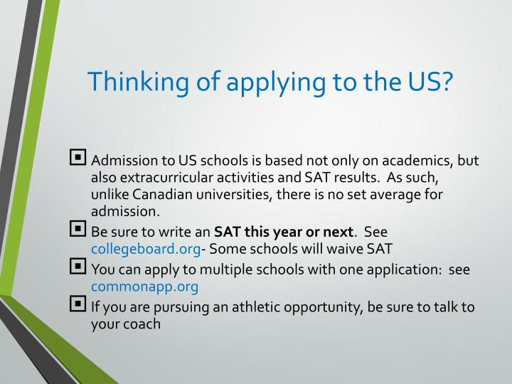 Thinking of applying to the US?