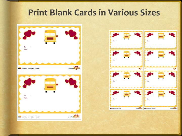 Print Blank Cards in Various Sizes