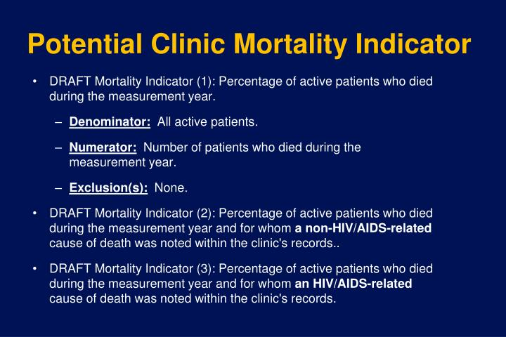 Potential Clinic Mortality Indicator