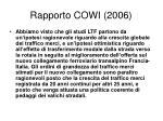 rapporto cowi 2006