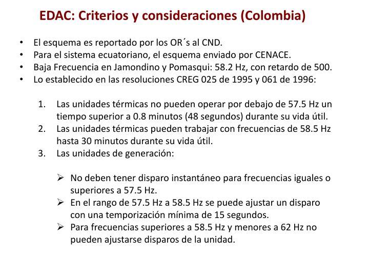 EDAC: Criterios y consideraciones (Colombia)