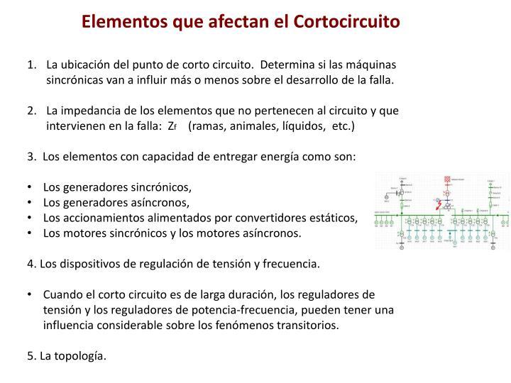 Elementos que afectan el Cortocircuito