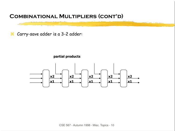 Combinational Multipliers (cont'd)