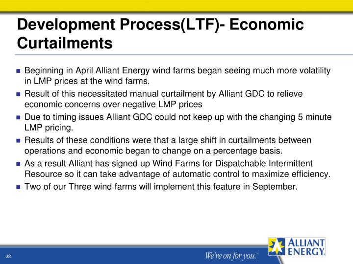 Development Process(LTF)- Economic Curtailments