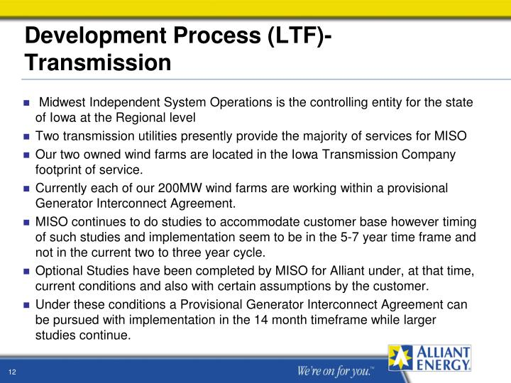 Development Process (LTF)- Transmission