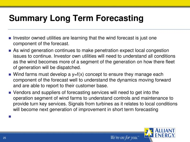Summary Long Term Forecasting