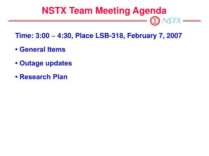 NSTX Team Meeting Agenda