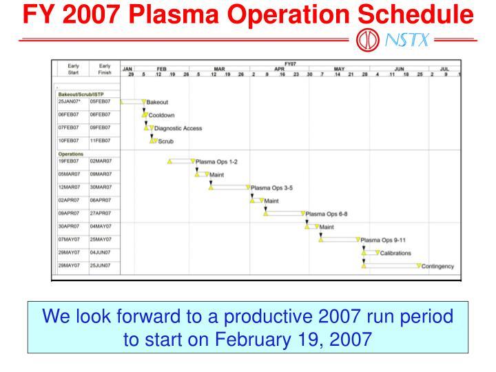 FY 2007 Plasma Operation Schedule