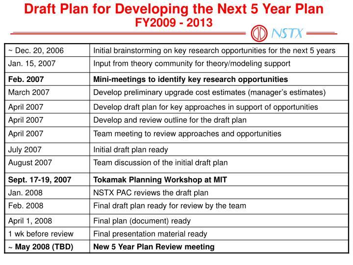 Draft Plan for Developing the Next 5 Year Plan