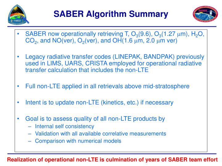SABER now operationally retrieving T, O
