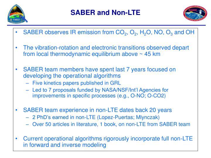 SABER observes IR emission from CO