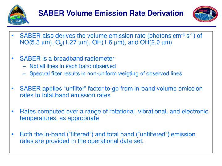 SABER also derives the volume emission rate (photons cm