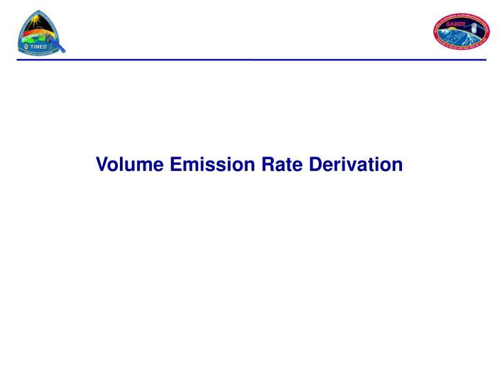 Volume Emission Rate Derivation
