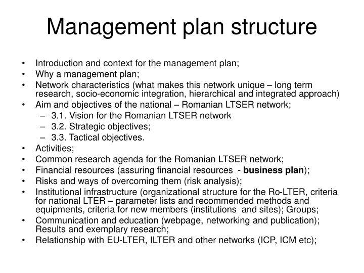 Management plan structure