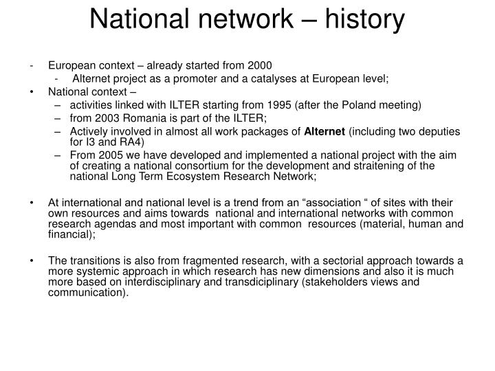 National network – history