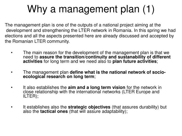 Why a management plan (1)