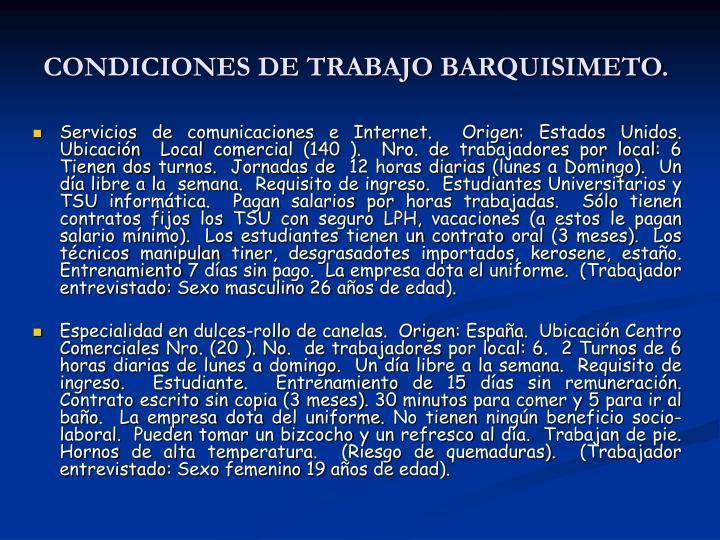 CONDICIONES DE TRABAJO BARQUISIMETO.