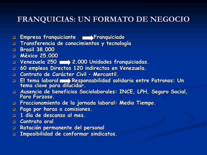 FRANQUICIAS: UN FORMATO DE NEGOCIO