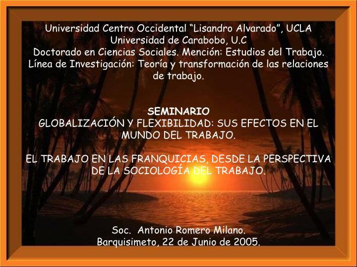 "Universidad Centro Occidental ""Lisandro Alvarado"", UCLA"
