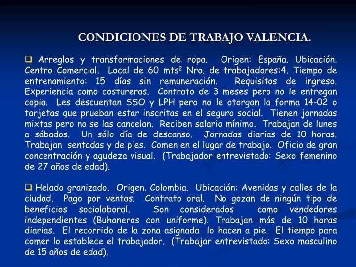 CONDICIONES DE TRABAJO VALENCIA.