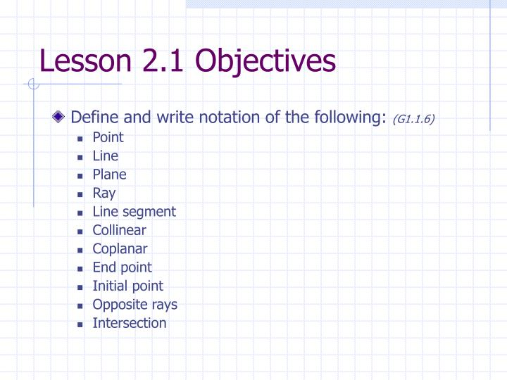 Lesson 2 1 objectives
