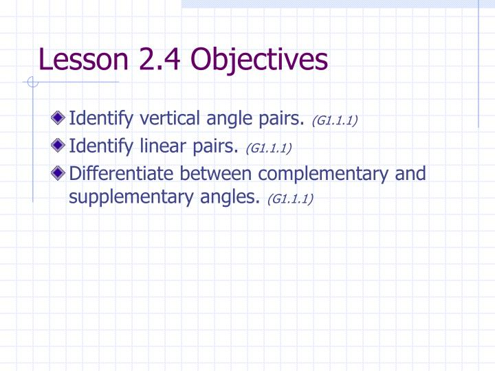 Lesson 2.4 Objectives