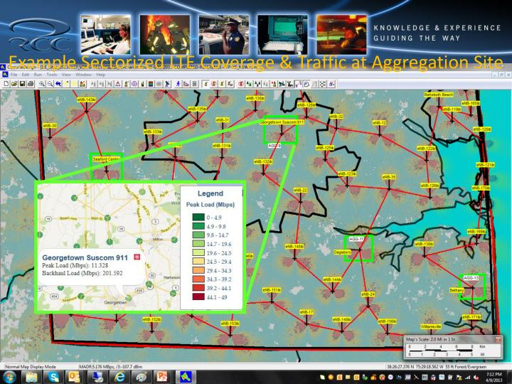 Example Sectorized LTE Coverage & Traffic at Aggregation Site
