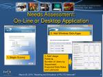 needs assessment on line or desktop application