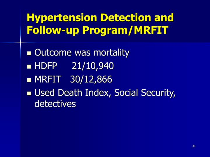 Hypertension Detection and Follow-up Program/MRFIT