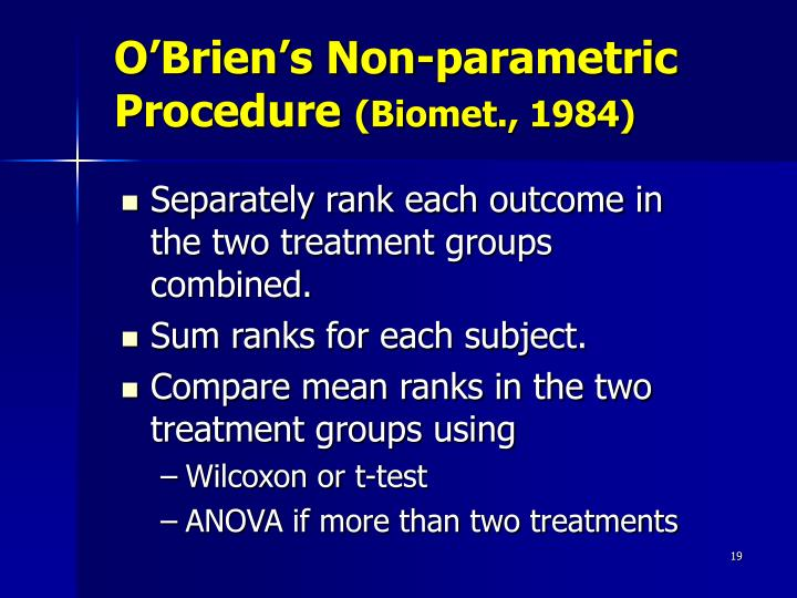 O'Brien's Non-parametric Procedure