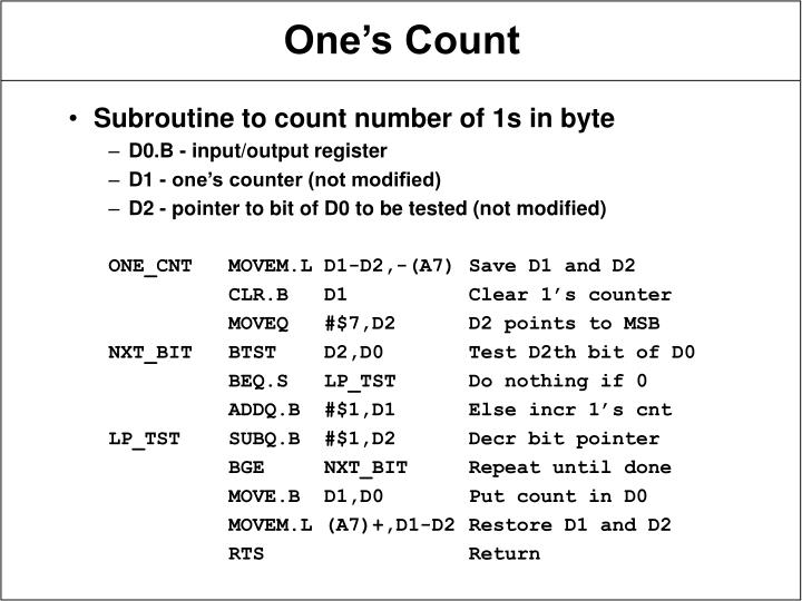 Subroutine to count number of 1s in byte