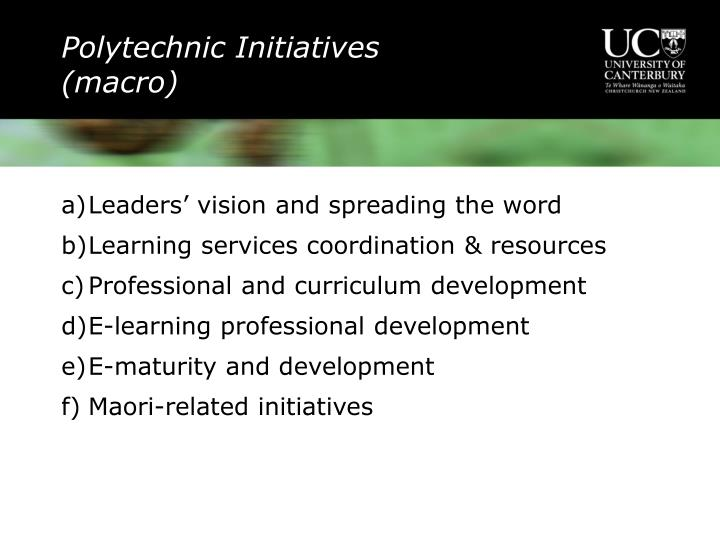 Polytechnic Initiatives (macro)