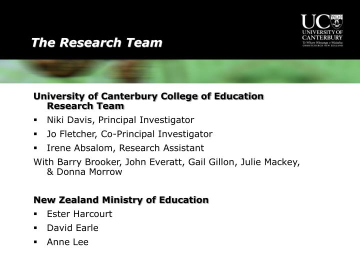 University of Canterbury College of Education Research Team