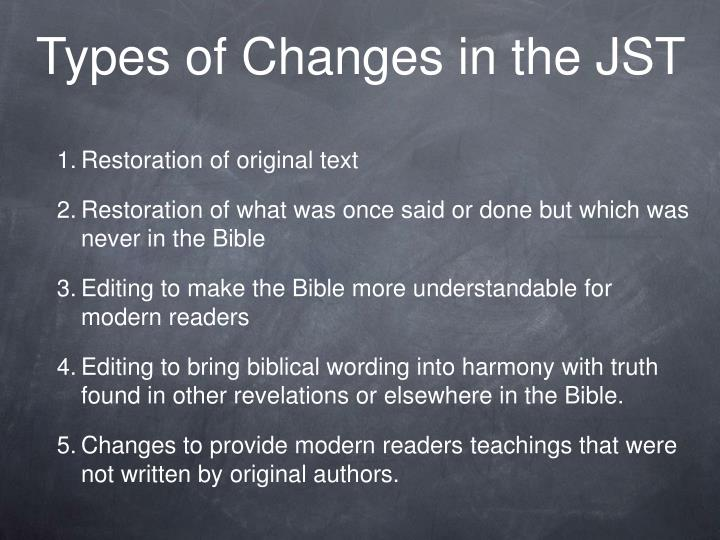 Types of Changes in the JST