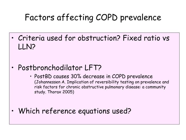 Factors affecting COPD prevalence