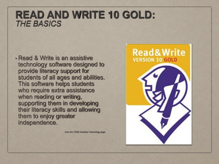 Read and write 10 gold the basics