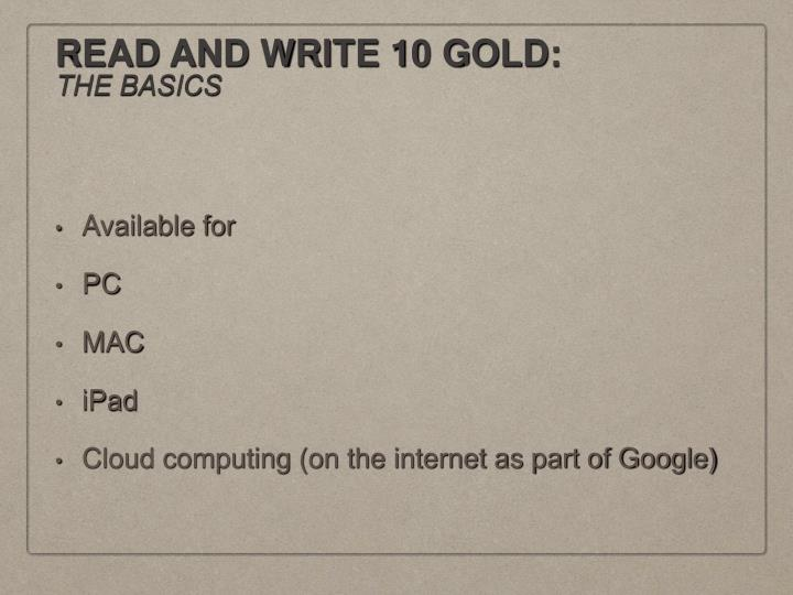Read and write 10 gold the basics1