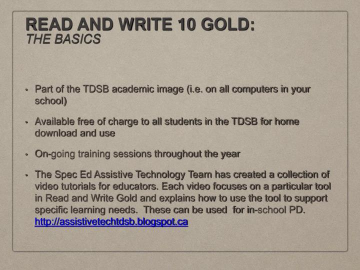 READ AND WRITE 10 GOLD: