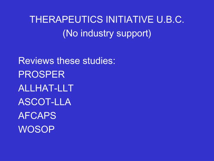 THERAPEUTICS INITIATIVE U.B.C.